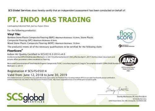 Floor Score Certificate Indomas Interior